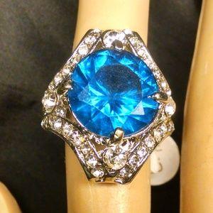 Blue Color Shiney Large Rhinestones Ring